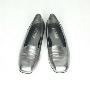 Enzo Angiolini Silver Pewter Loafer Flats Leather